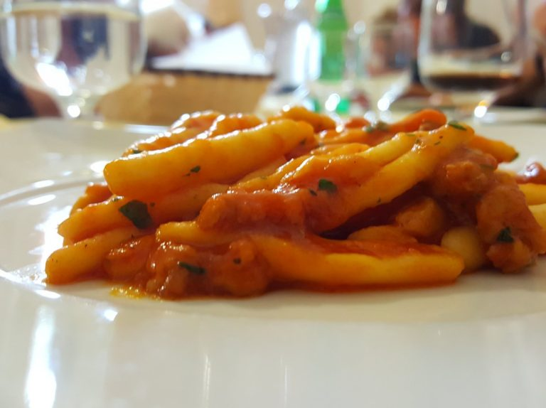 Fusilli pasta with local sausage meat