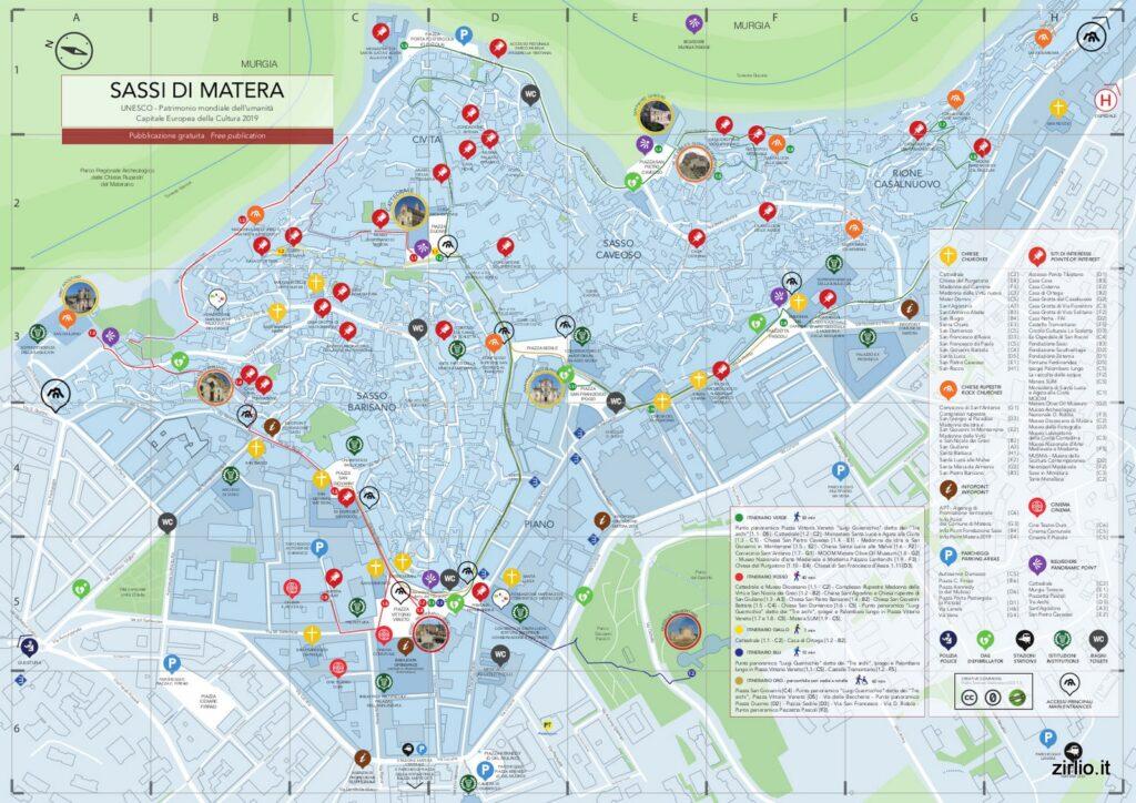 Tutte le attrazioni dei Sassi di Matera su una cartina